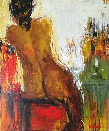 """Billede af Birgit Kirke maleriet """"Den Røde Sofa"""""""