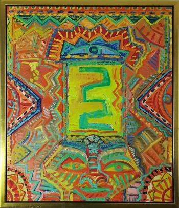 """Billede af Claus Bojesen maleriet """"Gul slange om dæmon"""""""