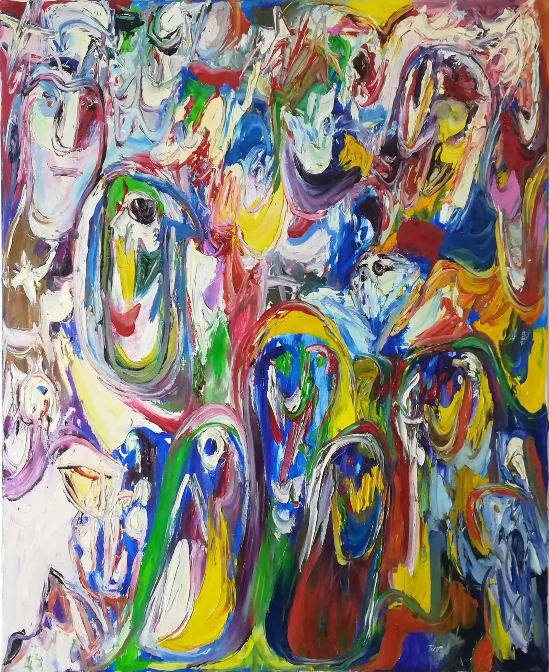 """Billede af Finn Pedersen maleri """"Figur Komposition 3"""""""