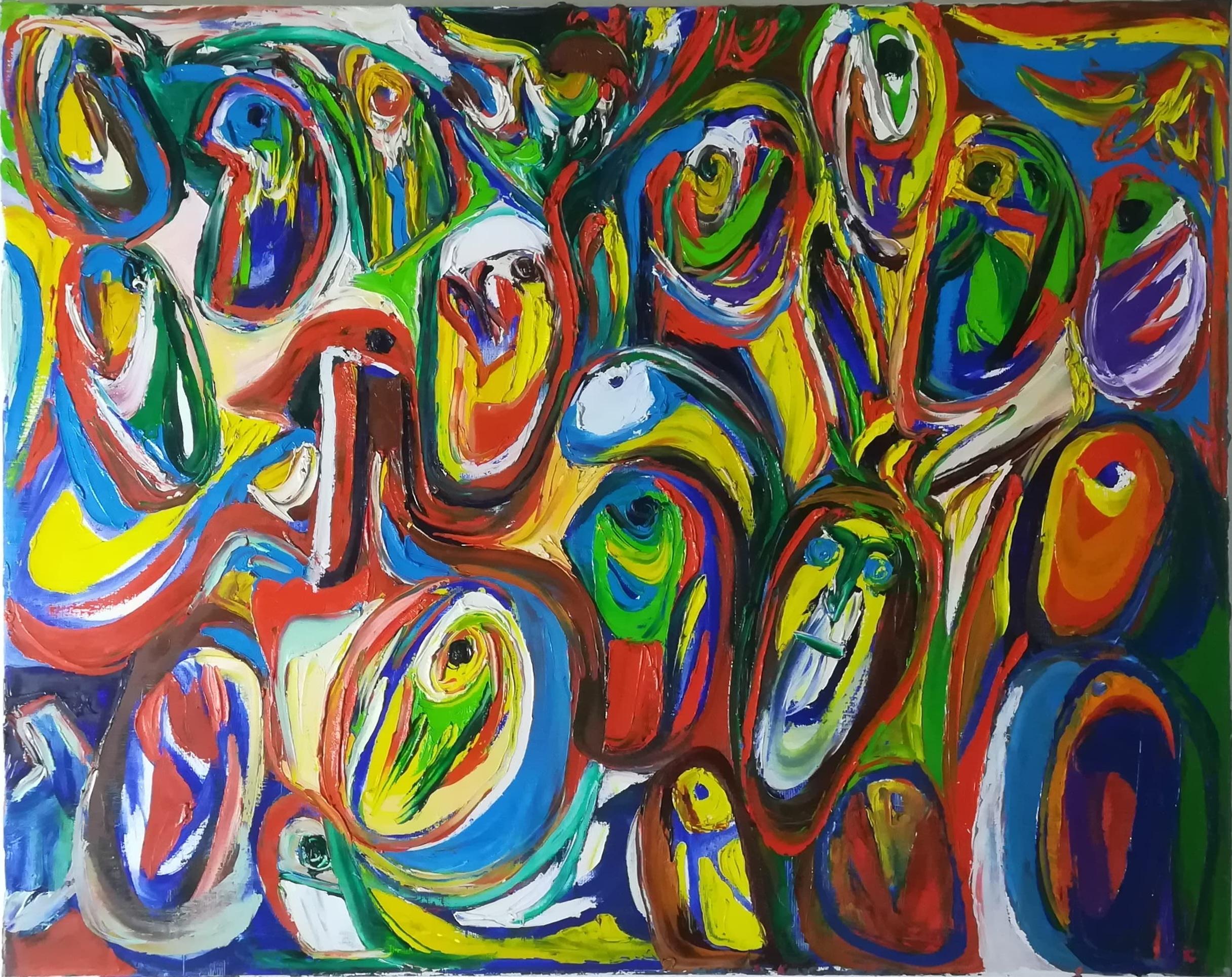 """Billede af Finn Pedersen maleri """"Figur Komposition 2"""""""