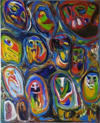 """Billede af Finn Pedersen maleriet """"Kiggeren"""""""
