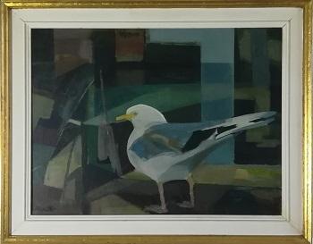 """Billede af Helge Christensen maleriet """"Måge på Kerteminde Havn"""""""