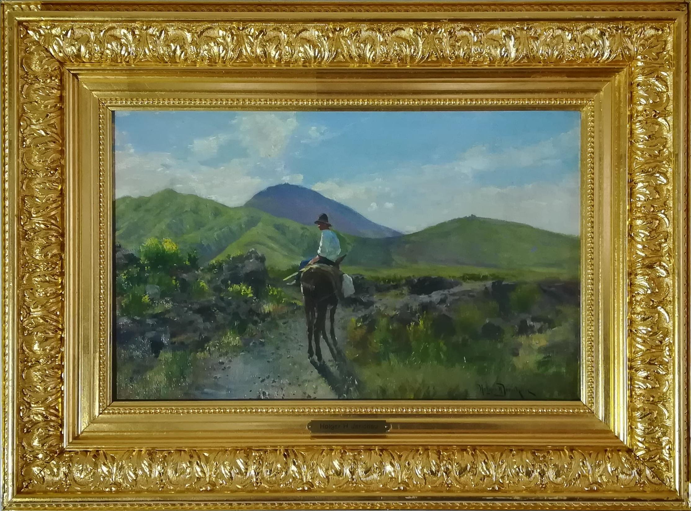 """Billede af Holger H Jerichau maleri """"Italiensk Landskab"""""""