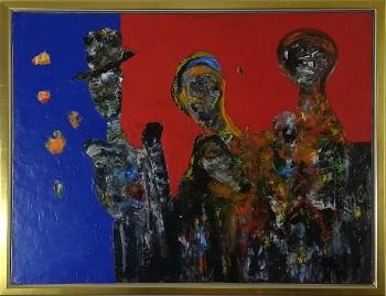"""Billede af Lajos Flesser maleriet """"The Survivors"""""""