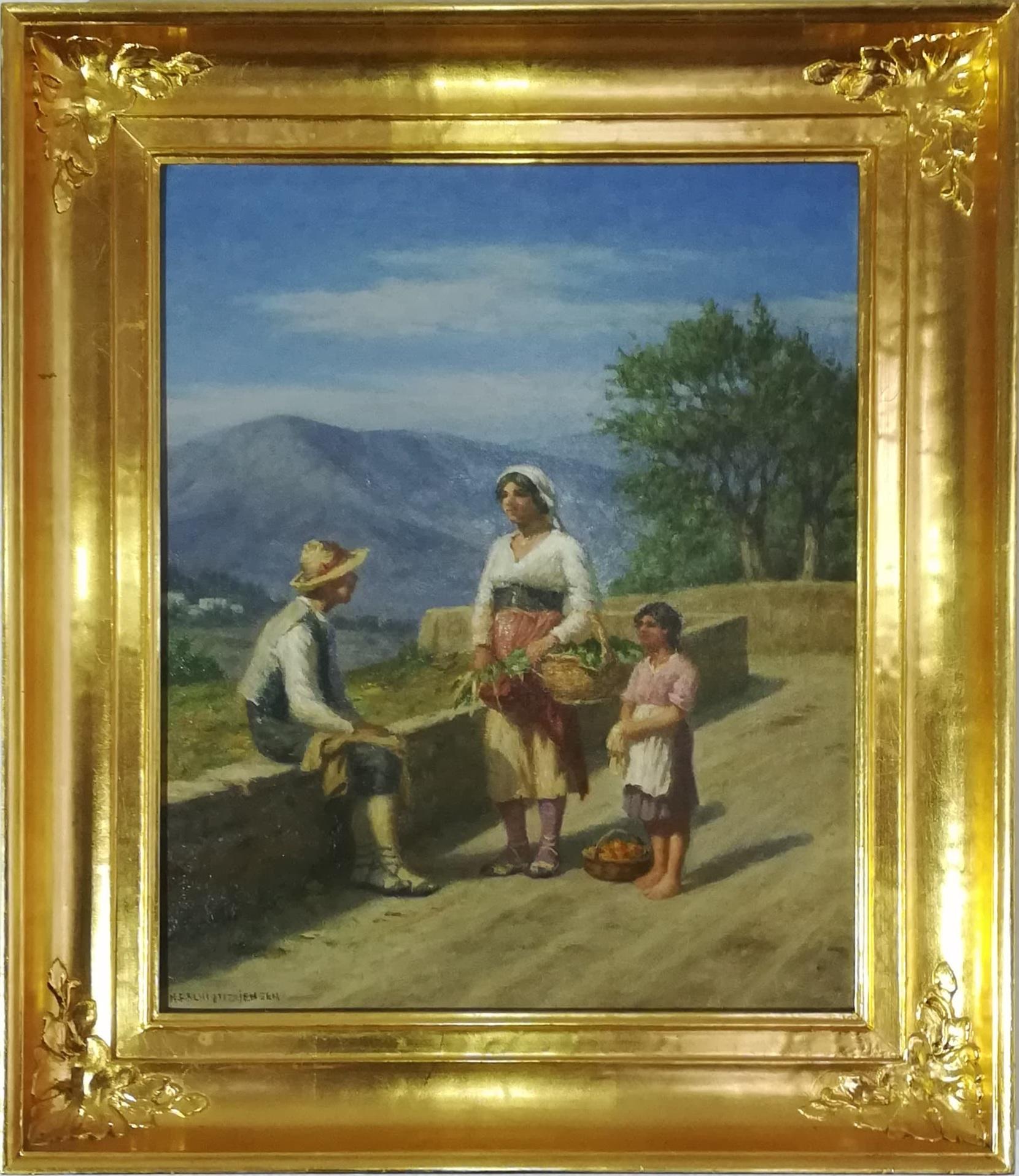 """Billede af NF Schiøttz-Jensen maleri """"Motiv fra Italien"""""""