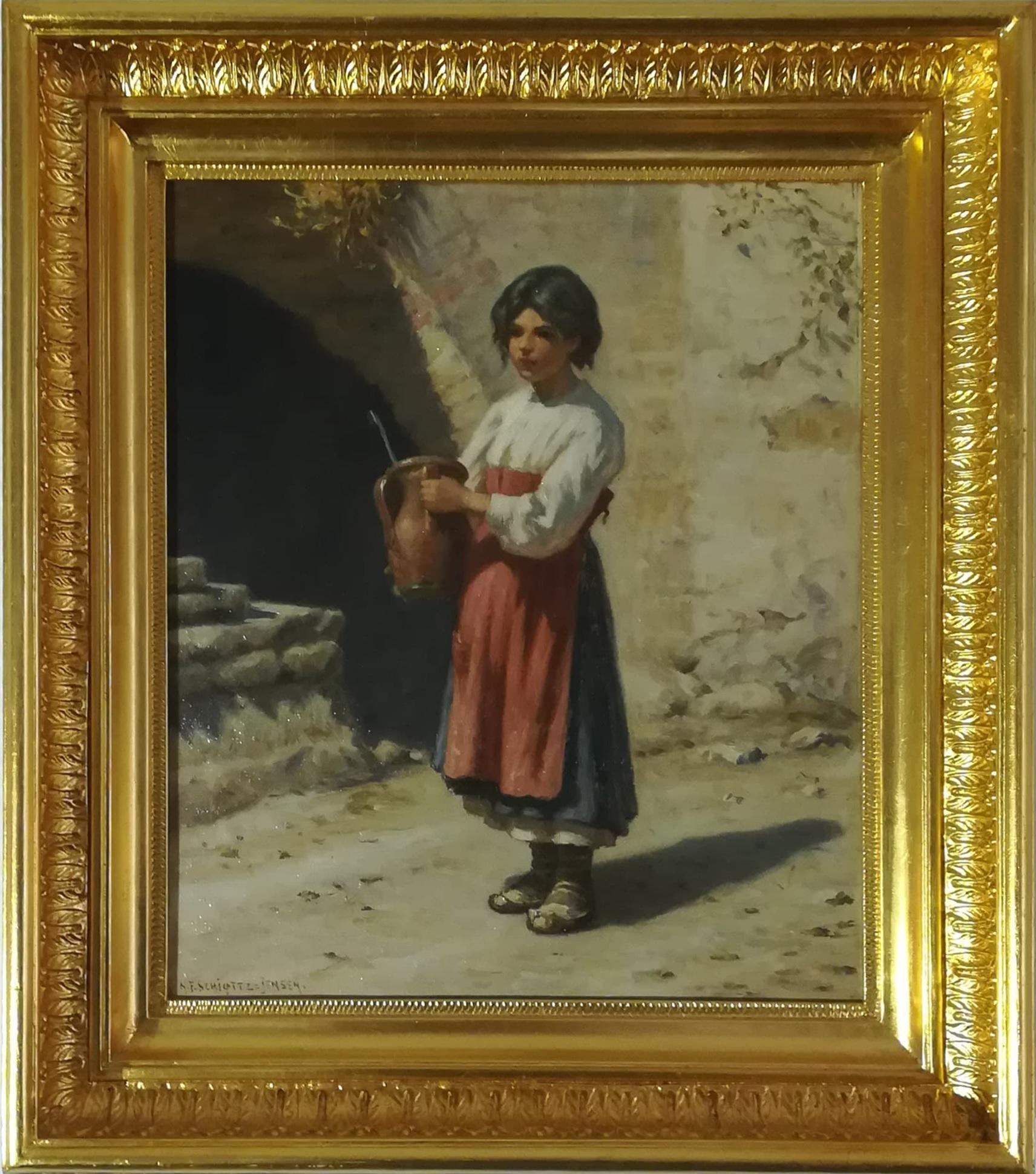 """Billede af NF Schiøttz Jensen maleri """"Pige Med Krukke"""""""