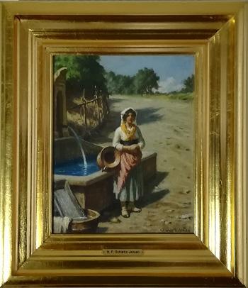 """Billede af NF Schiøttz Jensen maleriet """"Pige Ved Brønden"""""""