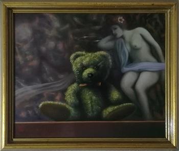 """Billede af Niels Erik Skovballe maleriet """"Bamse Kærlighed"""""""