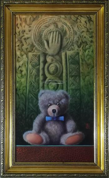 """Billede af Niels Erik Skovballe maleriet """"Bamse i Indisk Tempel"""""""