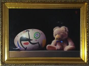"""Billede af Niels Erik Skovballe maleriet """"Bamse og Miro"""""""