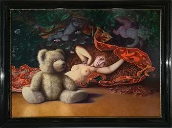 """Billede af Niels Erik Skovballe maleri """"Forelsket Bamse"""""""