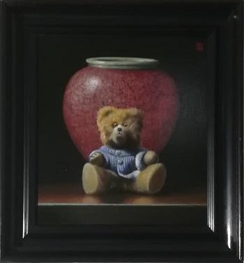 """Billede af Niels Erik Skovballe maleriet """"Krukket Bamse"""""""