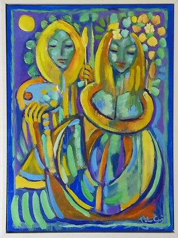 """Billede af Peter Chris maleriet """"Et Lykkeligt Par"""""""