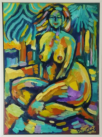 """Billede af Peter Chris maleriet """"Model i Det Grønne"""""""
