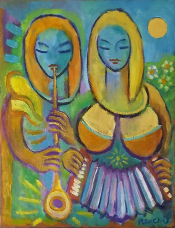 """Billede af Peter Chris maleriet """"Musikanter"""""""
