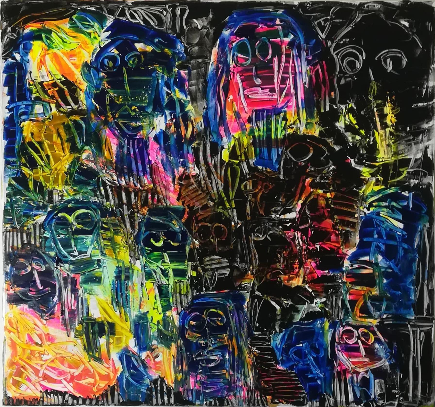 """Billede af Peter Viskinde maleri """"Masker 1"""""""