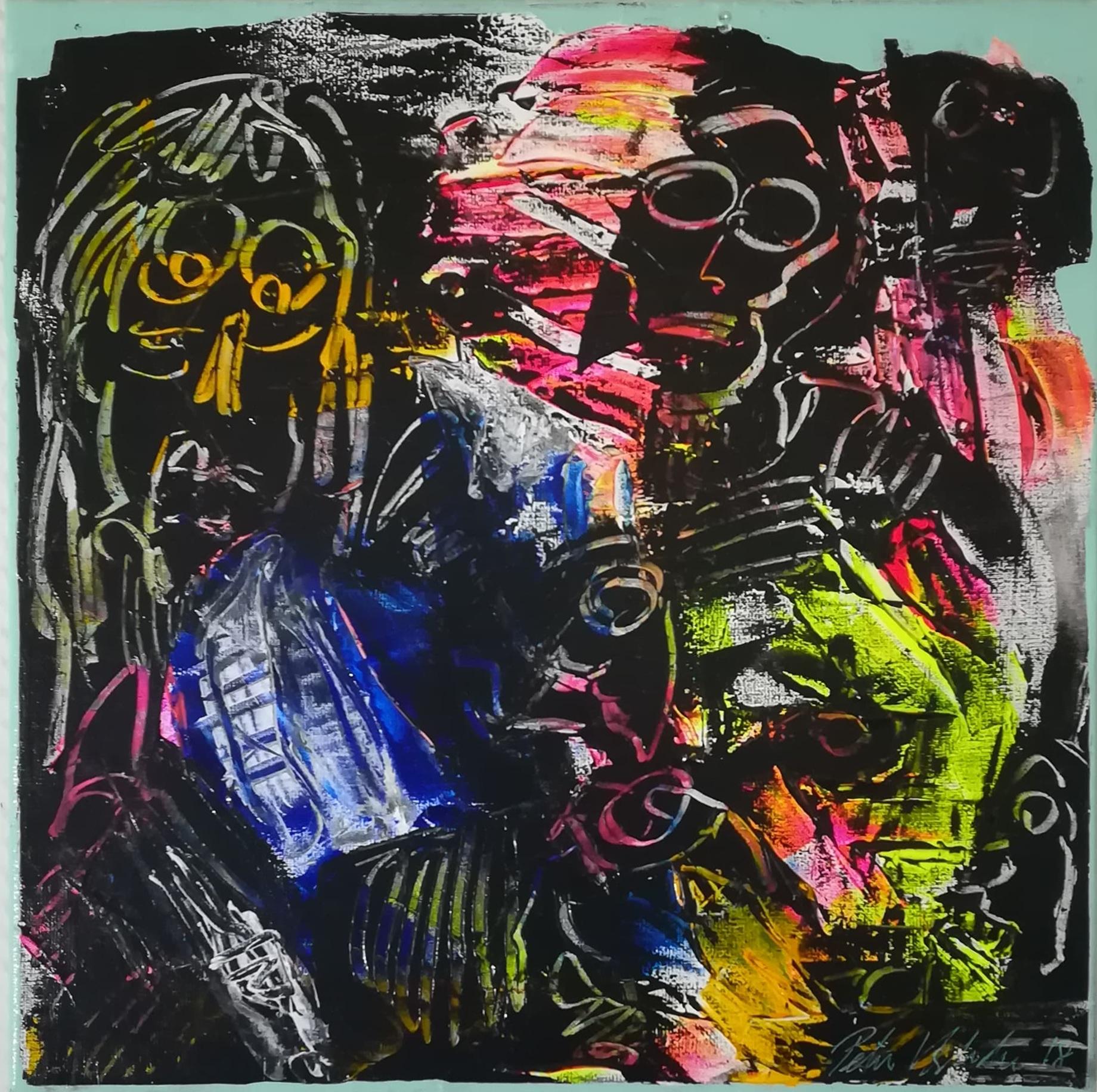 """Billede af Peter Viskinde maleri """"Masker 2"""""""