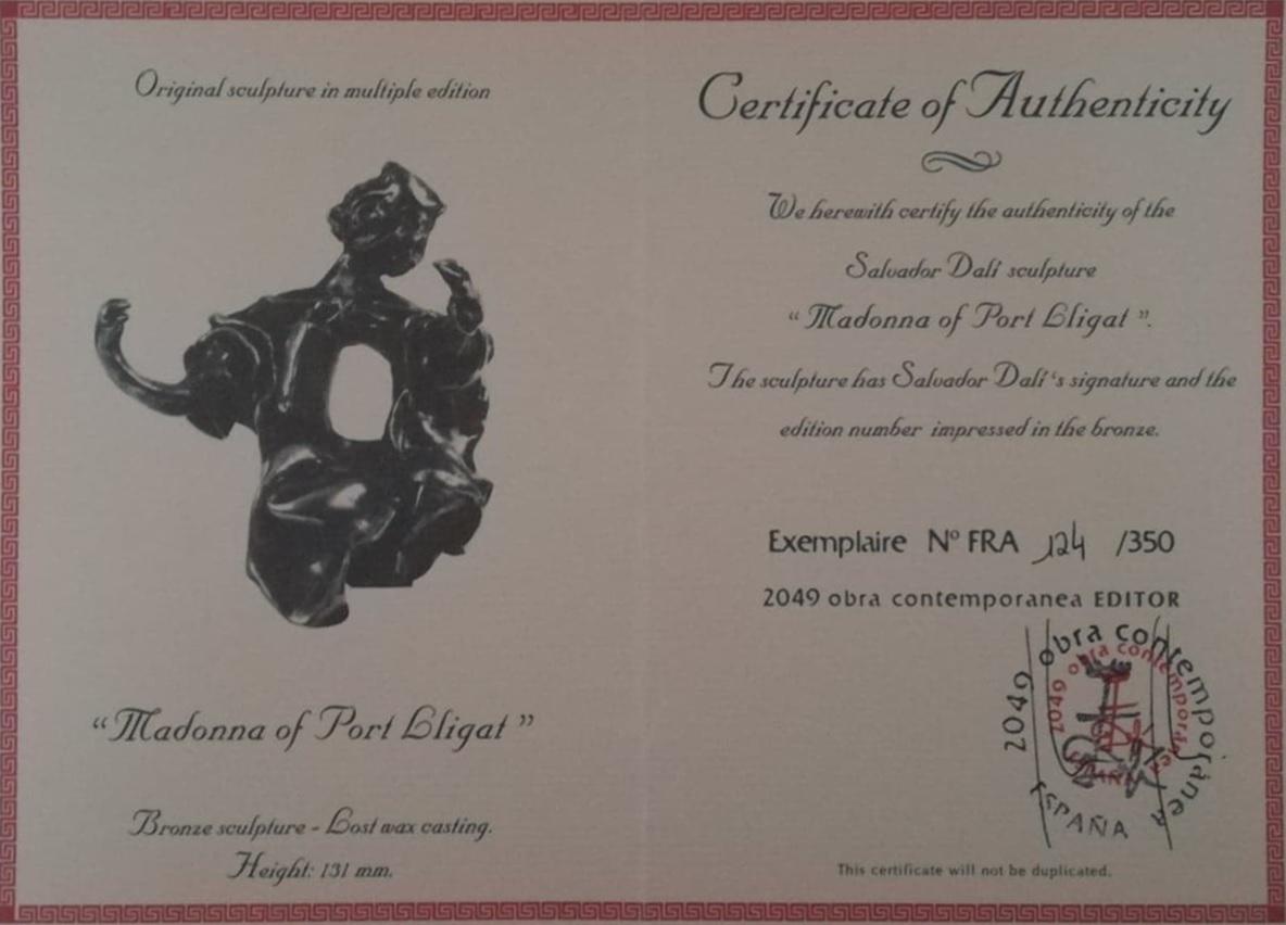 """Billede af Salvador Dali bronzeskulptur """"Madonna fra Port Lligat"""" nr. 124-350 - Certifikat"""