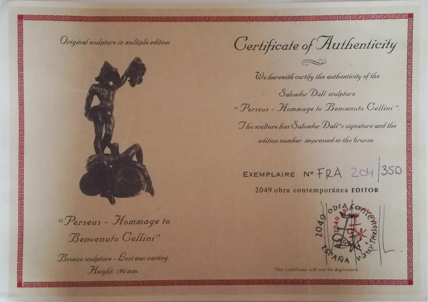 """Billede af Salvador Dali bronzeskulptur """"Persus - Homage to Benvenuto Cellini"""" nr. 204 / 350 - Certifikat"""
