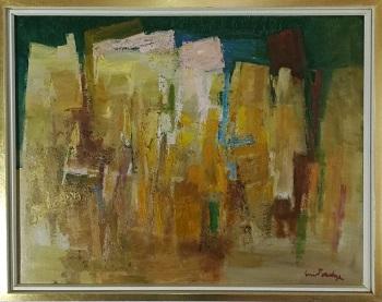 """Billede af Sven Saabye maleriet """"Abstrakt Landskab"""""""