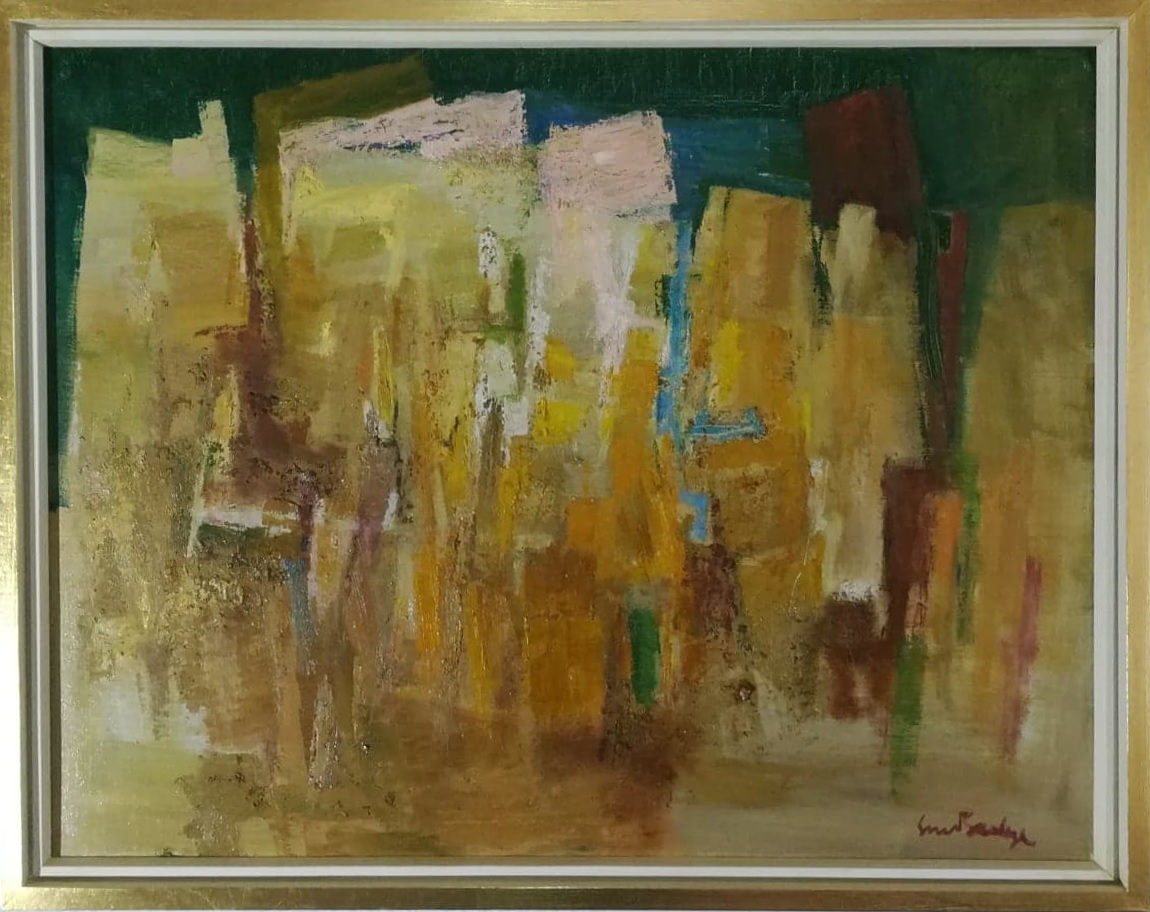 """Billede af Sven Saabye maleri """"Abstrakt Landskab"""""""