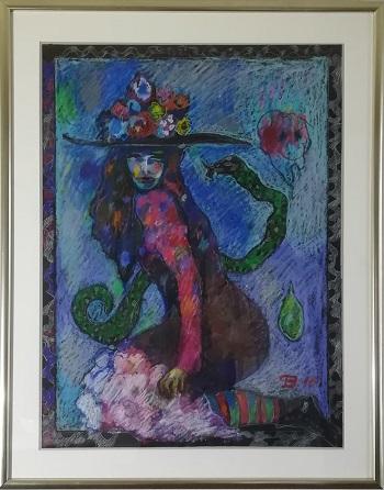 """Billede af Torben Bohse maleriet """"Slangepigen"""""""