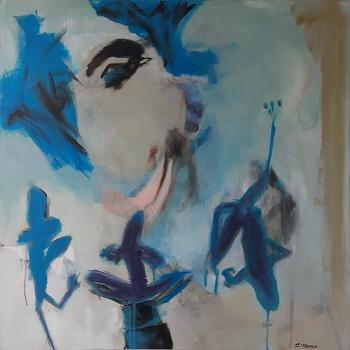 """Inge Hørup """"Pondering Woman"""" kunstværket"""