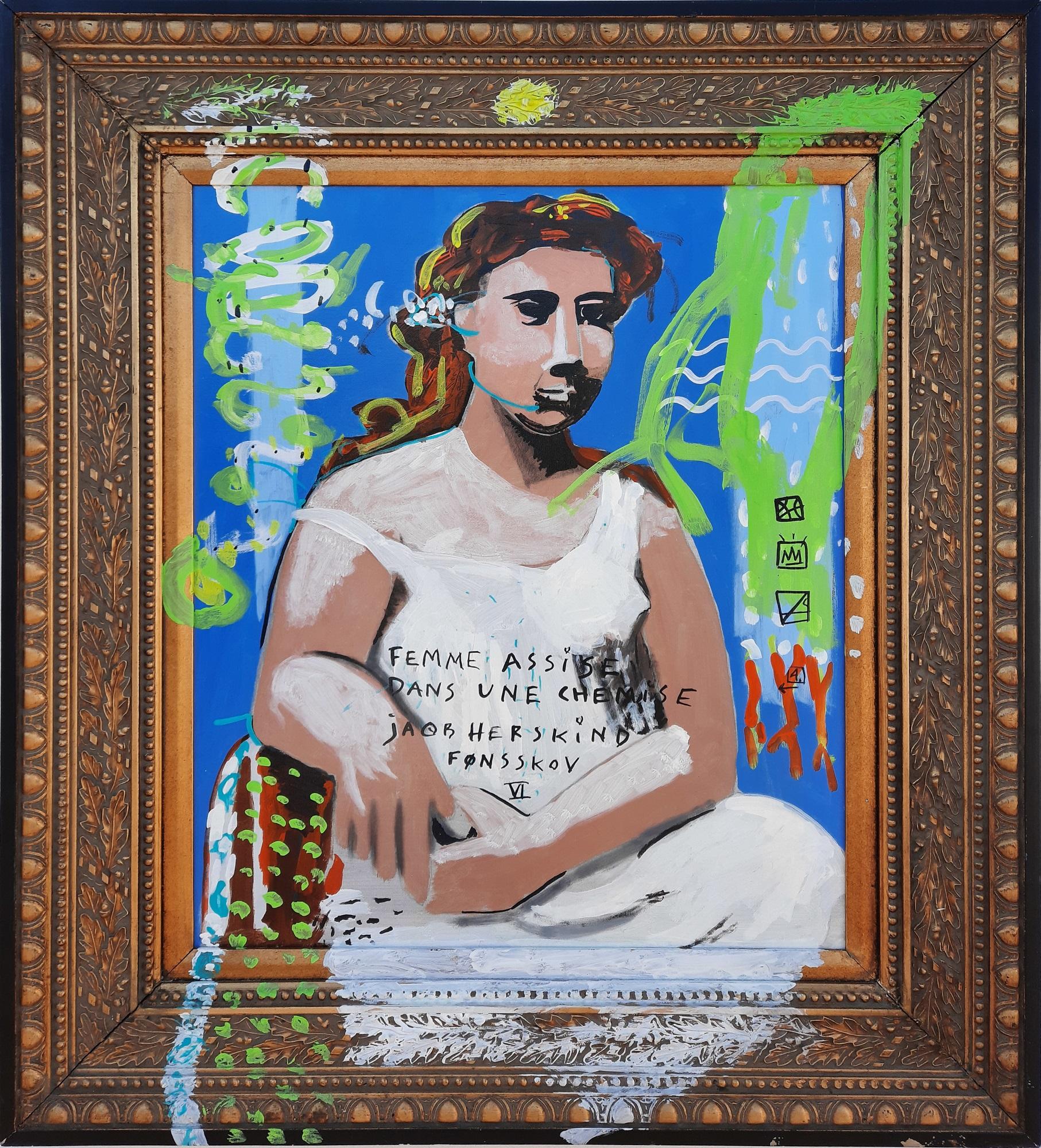 """Jacob herskind """"Femme Assise Dans Une Chemise"""" kunstværk"""