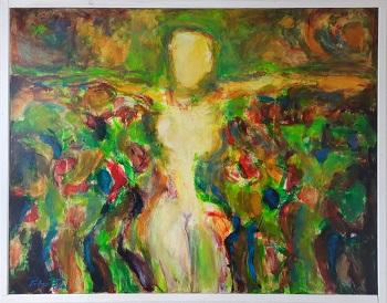 """Peter Thor Gunnarsson """"Lysende figur i landskab 2"""" kunstværket"""