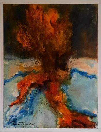 "Peter Thor Gunnarsson ""Vulkanudbrud på Island i 2011"" kunstværket"