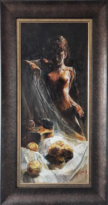 """Vasil Petrov """"Model med violin og frugter"""" kunstværket"""
