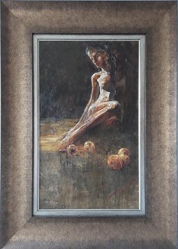"""Vasil Petrov """"Siddende model med frugter"""" kunstværket"""