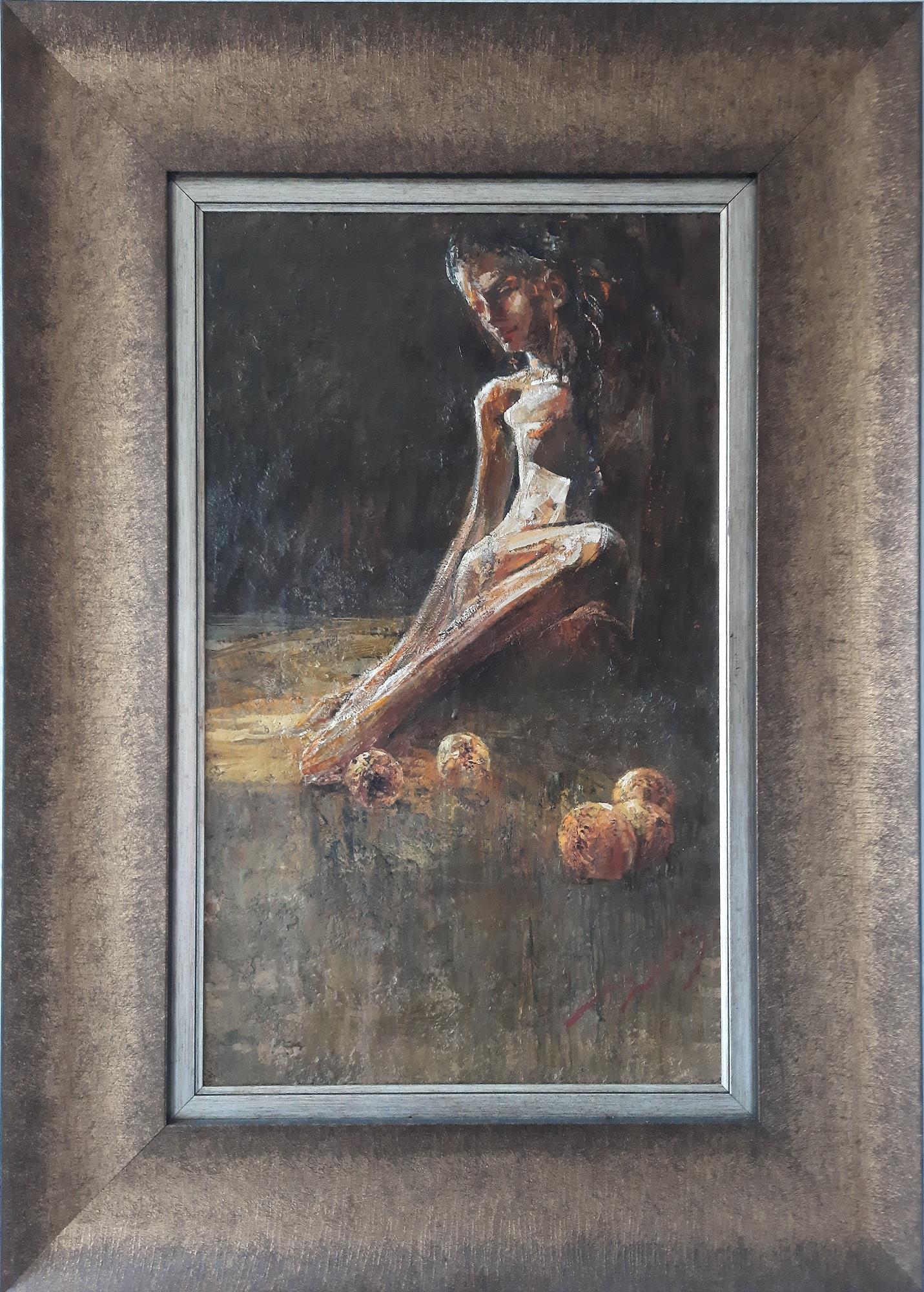 """Vasil Petrov """"Siddende model med frugter"""" kunstværk"""