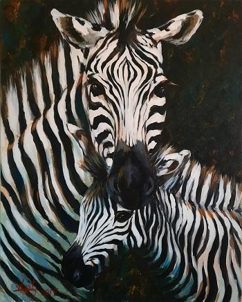 """Hani Arsan """"Zebra med føl"""" kunst"""