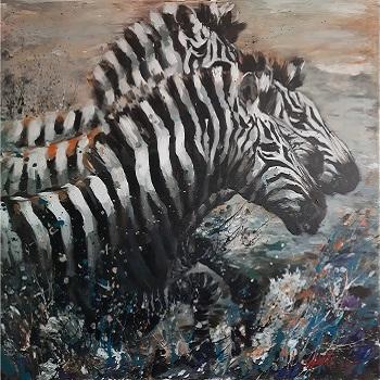 """Hani Arsan """"Zebraer i hop"""" kunst"""
