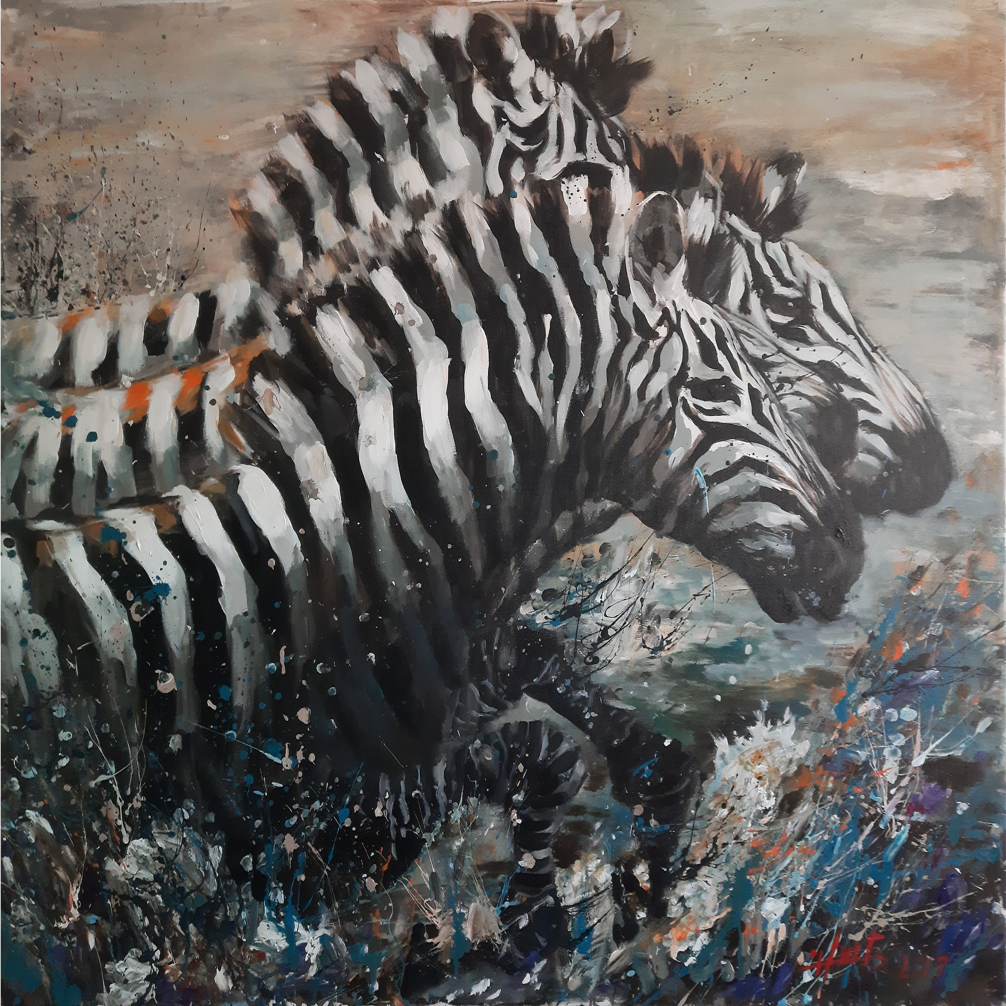 "Hani Arsan ""Zebraer i hop"" oliemaleri"